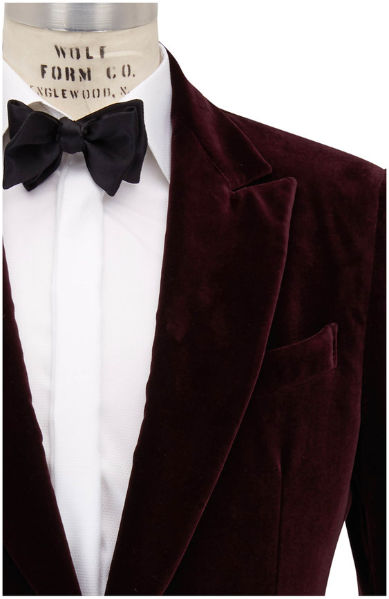 Ermenegildo Zegna Bordeaux Velvet Dinner Jacket