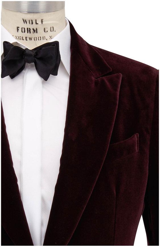 Ermenegildo Zegna Bordeaux Velvet Dinner Jacket