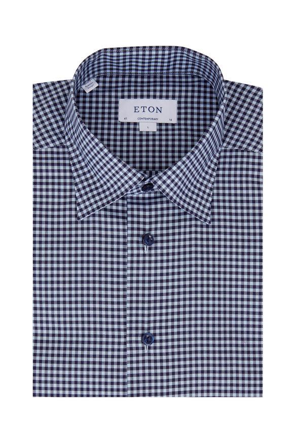 Eton Navy Blue Gingham Contemporary Fit Dress Shirt