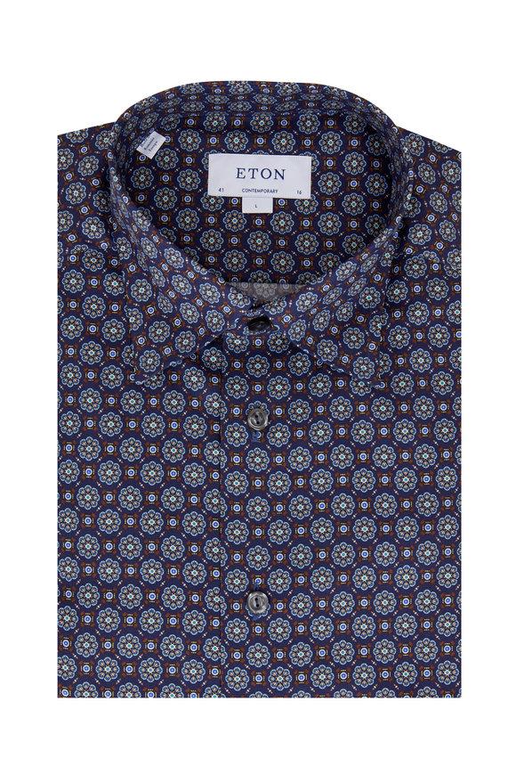 Eton Navy Blue Medallion Contemporary Dress Shirt
