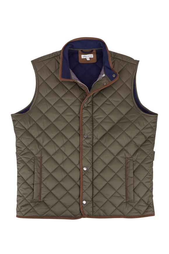 Peter Millar Essex Olive Quilted Traveler Vest
