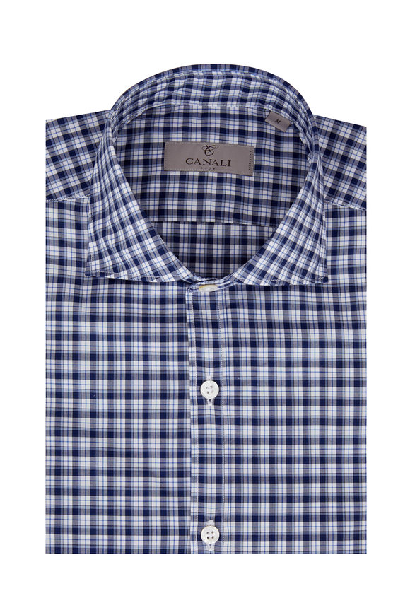 Navy Blue Check Sport Shirt