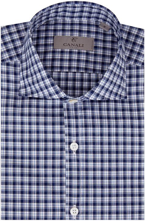 Canali Navy Blue Check Sport Shirt
