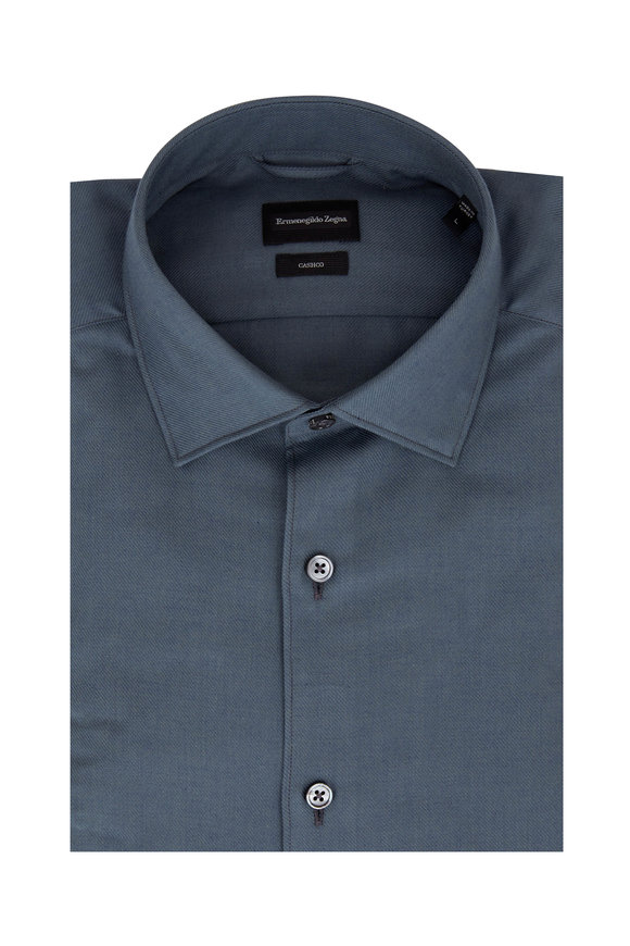 Ermenegildo Zegna Solid Teal Tailored Fit Sport Shirt