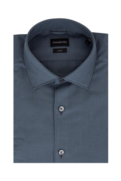 Ermenegildo Zegna - Solid Teal Tailored Fit Sport Shirt