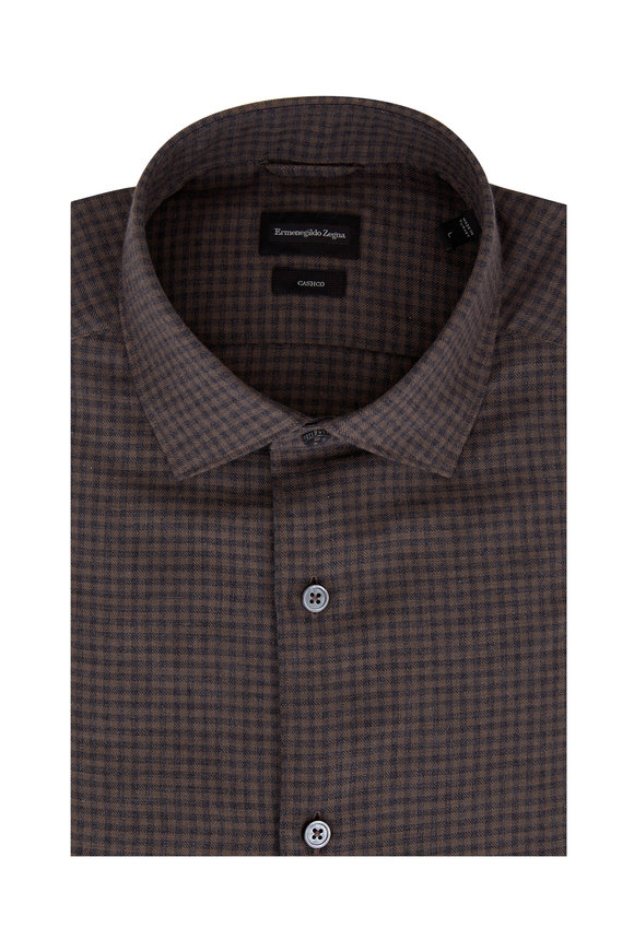 Ermenegildo Zegna Light Brown & Gray Gingham Sport Shirt