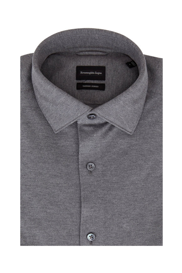 Ermenegildo Zegna Gray Piquè Tailored Fit Sport Shirt