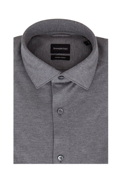 Ermenegildo Zegna - Gray Piquè Tailored Fit Sport Shirt