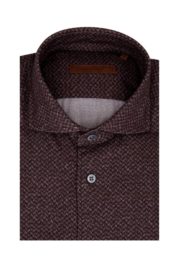 Corneliani Burgundy Herringbone Sport Shirt