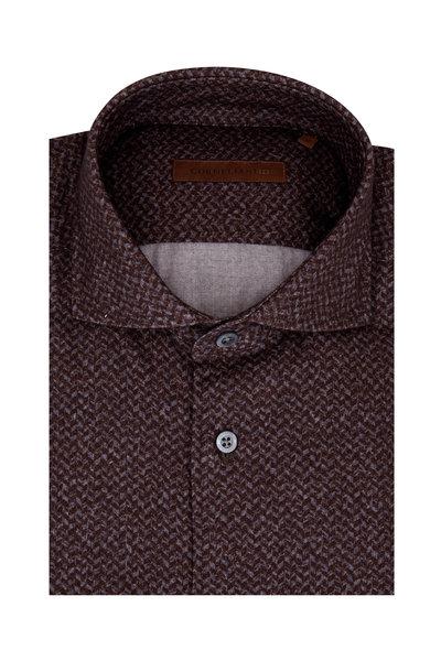 Corneliani - Burgundy Herringbone Sport Shirt