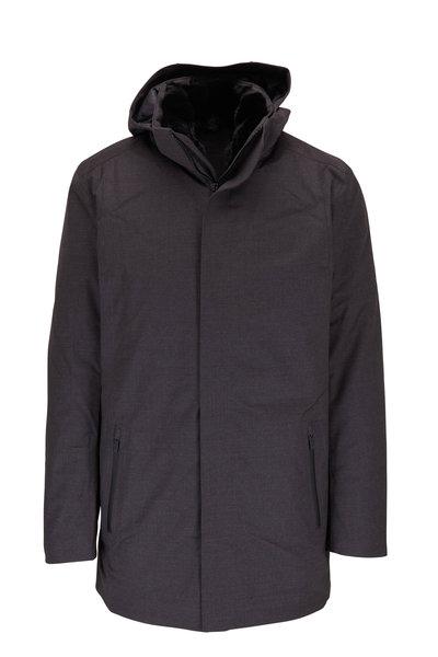 UBR - Savile Dark Gray Wool Hooded Parka