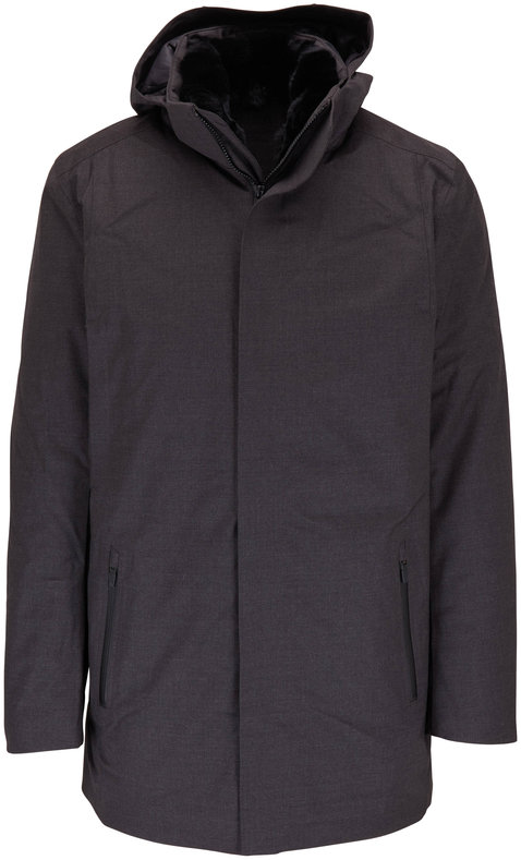 UBR Savile Dark Gray Wool Hooded Parka