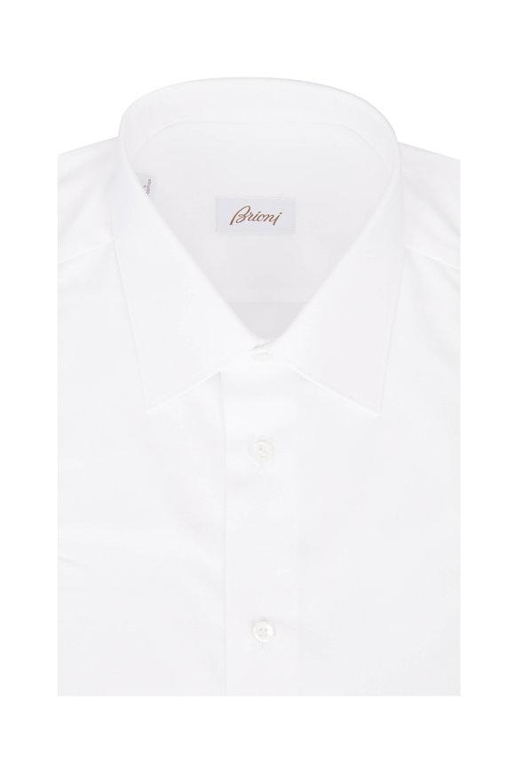 Brioni Solid White Dress Shirt