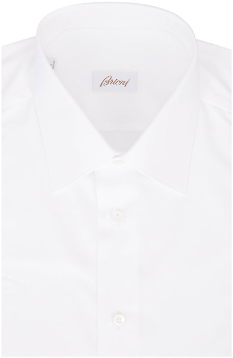 Brioni Solid White Dress Shirt