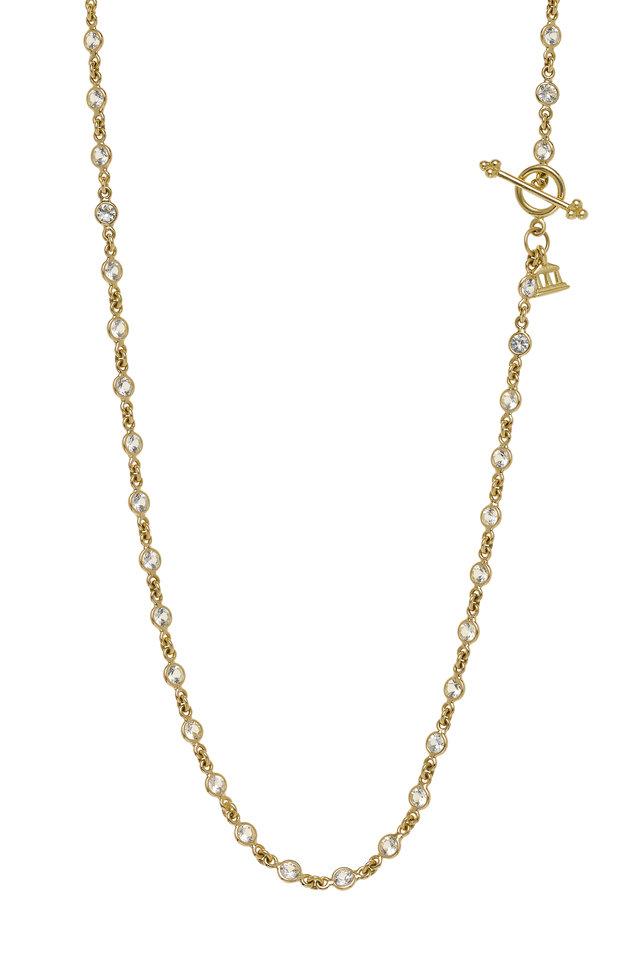 18K Yellow Gold White Sapphire Chain