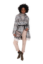 Brunello Cucinelli - White & Charcoal Mohair Intarsia Long Cardigan