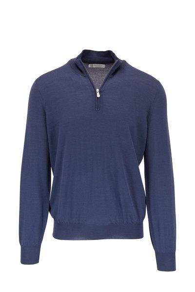 Brunello Cucinelli - Blue Quarter-Zip Wool & Cashmere Pullover