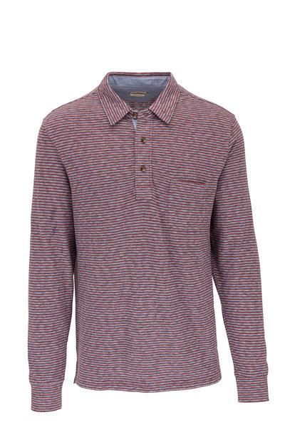 Faherty Brand - Merlot Long Sleeve Striped Polo