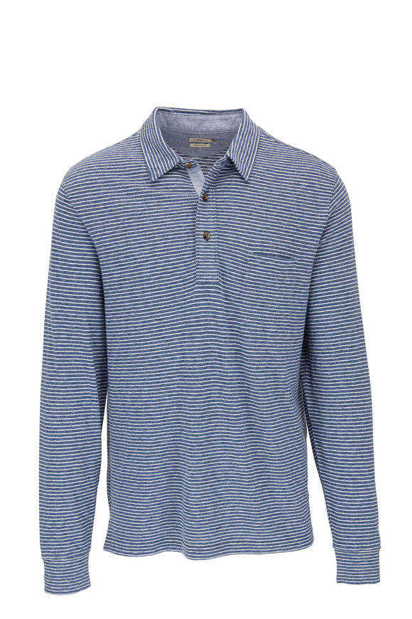 Faherty Brand Navy Long Sleeve Striped Polo