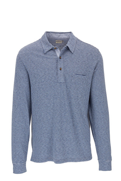 Faherty Brand - Navy Long Sleeve Striped Polo