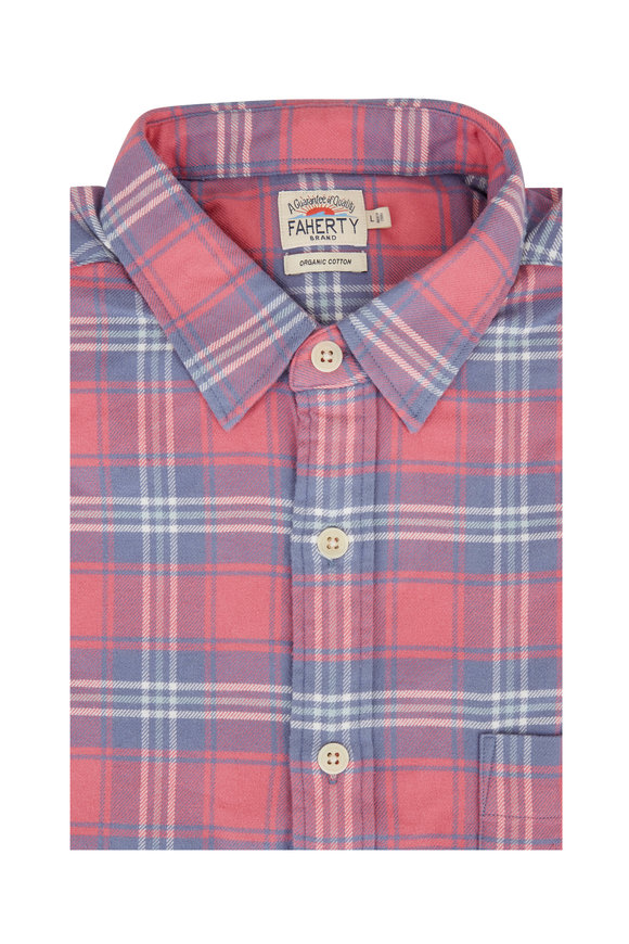 Faherty Brand Seaview Red & Blue Plaid Flannel Sport Shirt