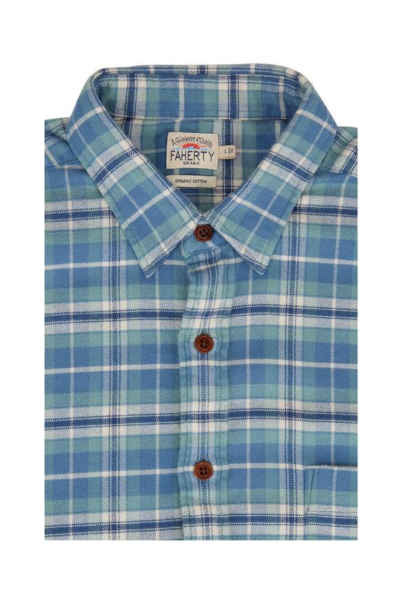 Faherty Brand Seaview Blue Plaid Flannel Sport Shirt