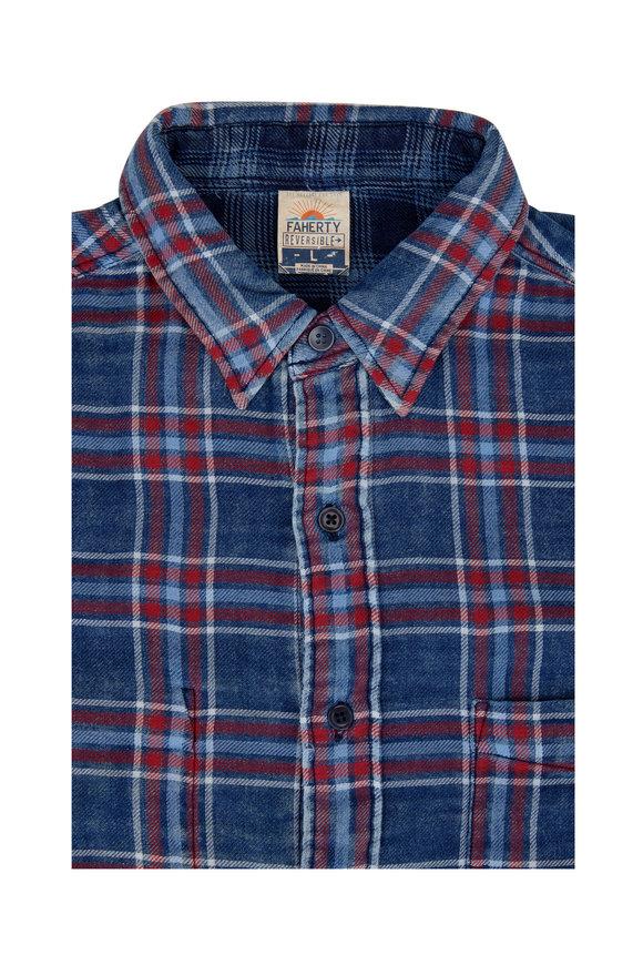 Faherty Brand Reversible Indigo Plaid Sport Shirt