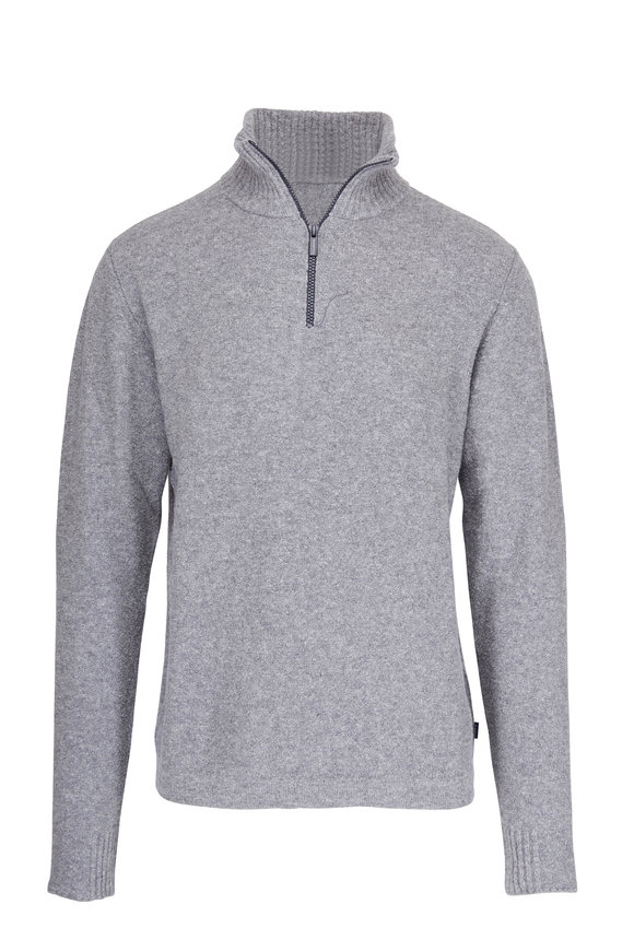 04651/ Troyer Gray Bouclé Quarter-Zip Pullover