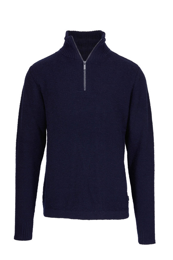 04651/ Troyer Navy Bouclé Quarter-Zip Pullover