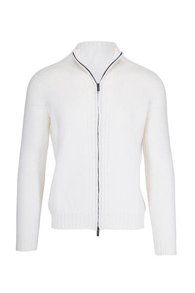 04651/ - Fishmerman White Wool Front Zip Jacket