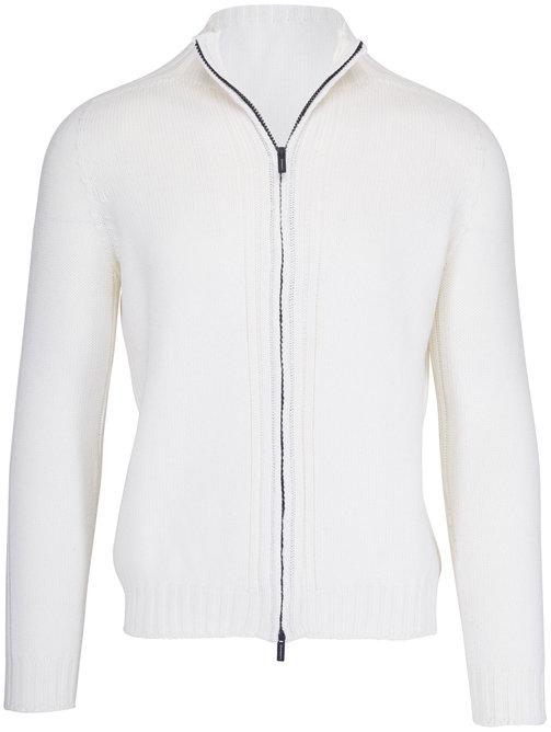 04651/ Fishmerman White Wool Front Zip Jacket
