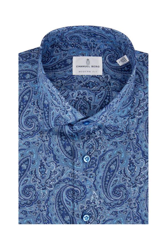 Emanuel Berg Blue Paisley Modern Fit Sport Shirt