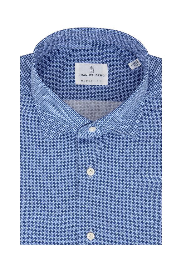 Emanuel Berg Blue Geometric Modern Fit Sport Shirt
