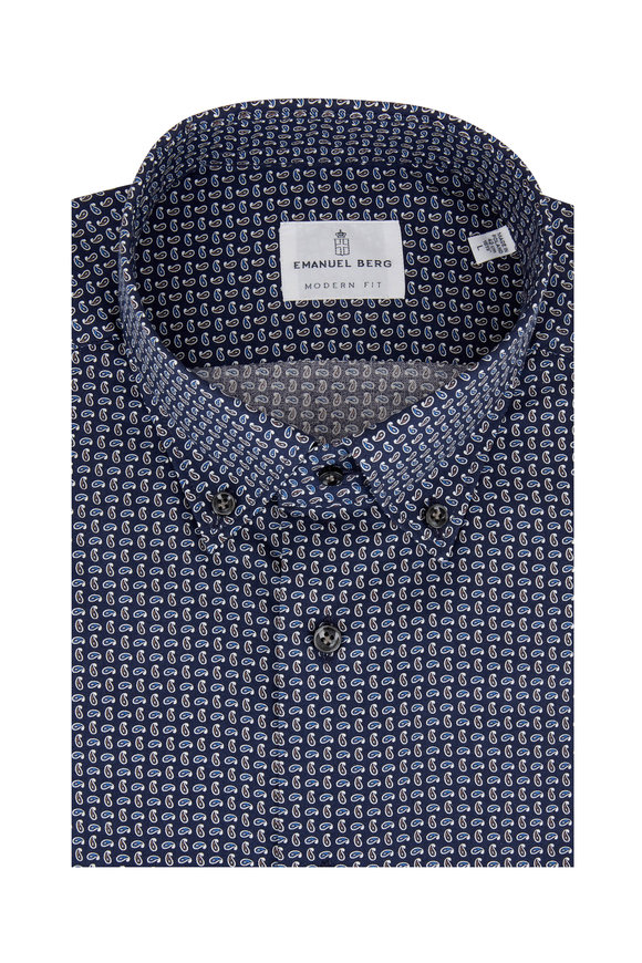 Emanuel Berg Navy Blue Paisley Modern Fit Sport Shirt