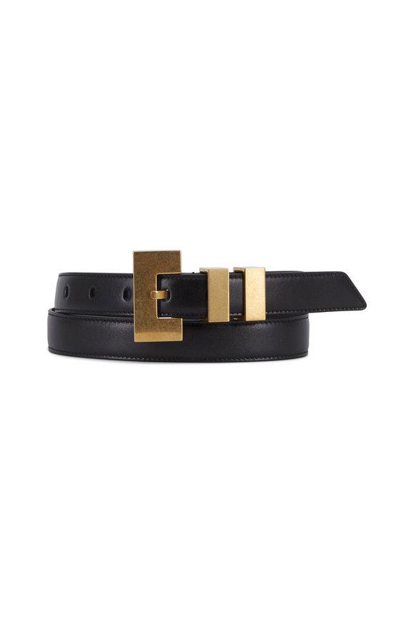 Saint Laurent Carre Rive Gauche Black Leather Double-Loop Belt