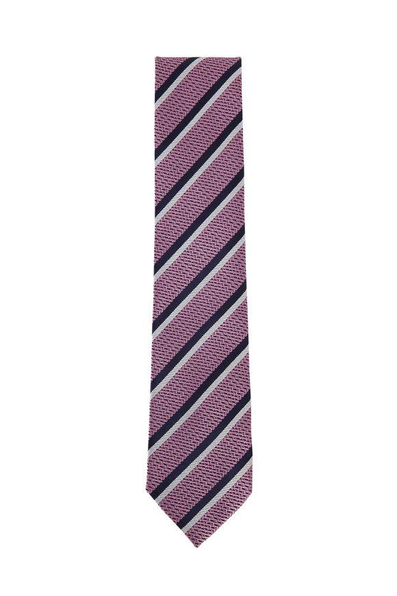 Ermenegildo Zegna Pink Striped Silk Necktie