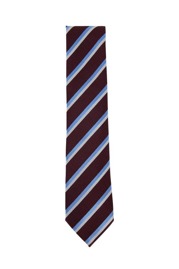 Ermenegildo Zegna Burgundy & Blue Diagonal Striped Silk Necktie