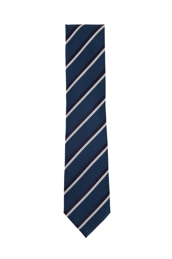 Ermenegildo Zegna Navy Blue Striped Silk Necktie