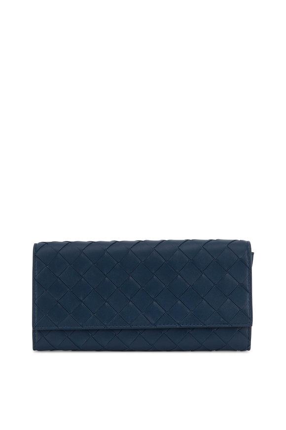 Bottega Veneta Petrol Blue Intrecciato Flap Wallet