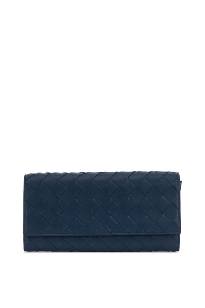 Bottega Veneta - Petrol Blue Intrecciato Flap Wallet