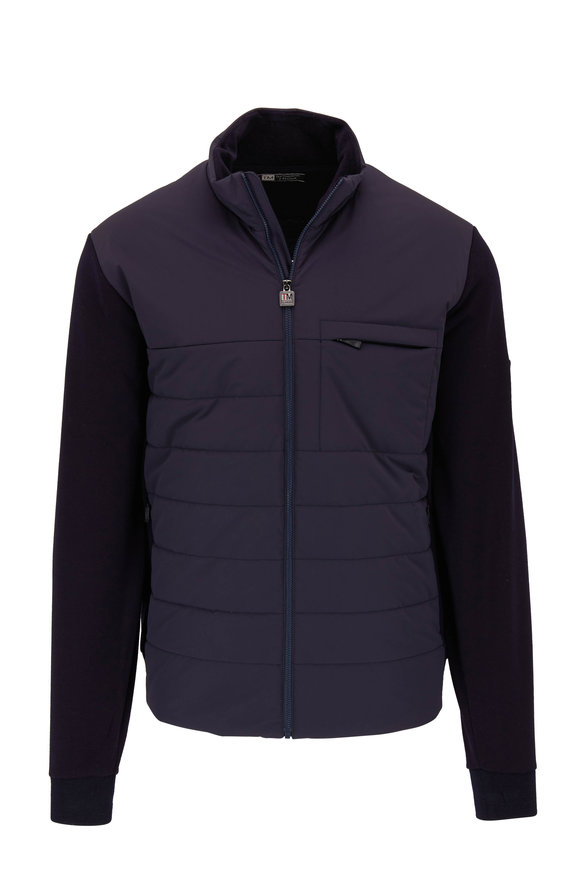 Z Zegna Navy Blue Techmerino Wool & Quilted Nylon Jacket