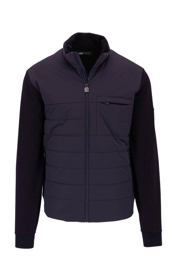 Z Zegna Navy Blue Techmerino Wool & Quilted Nylon Jacket