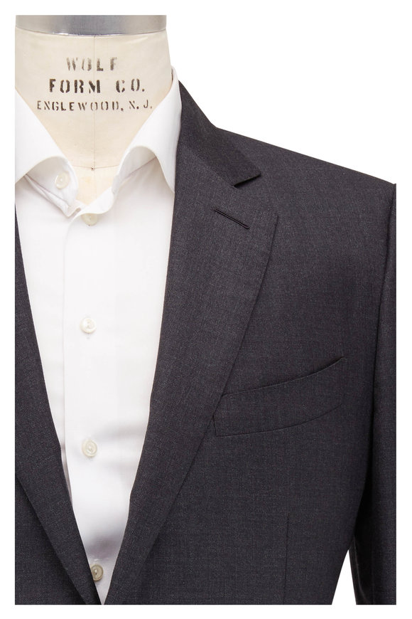 Tom Ford Charcoal Gray Sharkskin Wool Three Piece Suit