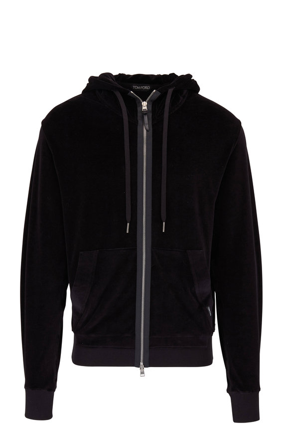 Tom Ford Alpha Black Velour Zip Hoodie