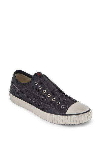 John Varvatos - Black Coated Linen Laceless Low-Top Sneaker