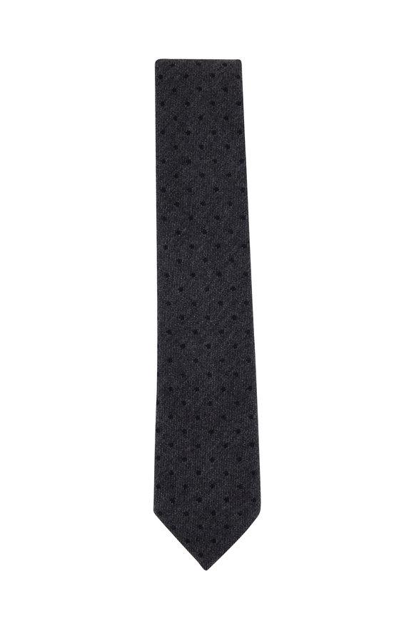 Ermenegildo Zegna Gray & Navy Blue Dot Wool Blend Necktie