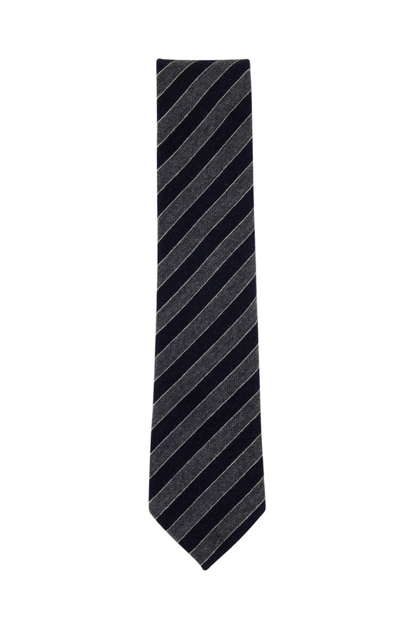Ermenegildo Zegna Navy Blue & Gray Striped Cashmere Blend Necktie