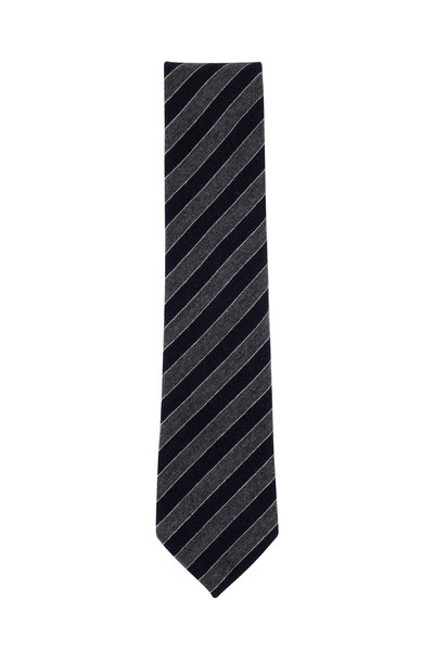 Ermenegildo Zegna - Navy Blue & Gray Striped Cashmere Blend Necktie