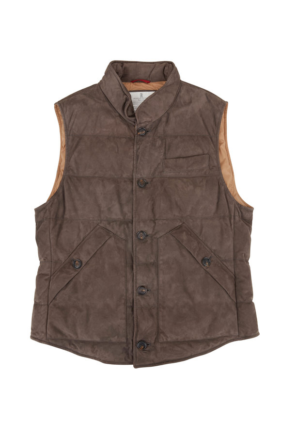 Brunello Cucinelli Dark Olive Suede Button Front Quilted Vest