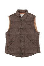 Brunello Cucinelli - Dark Olive Suede Button Front Quilted Vest